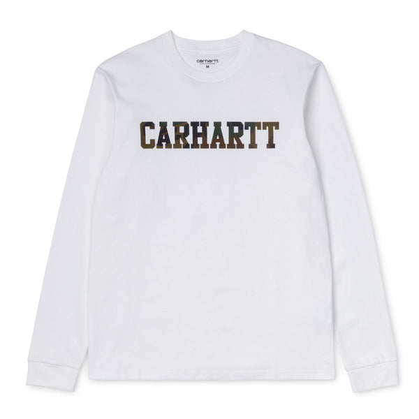 Carhartt WIP Long Sleeve College T-Shirt - White / Camo