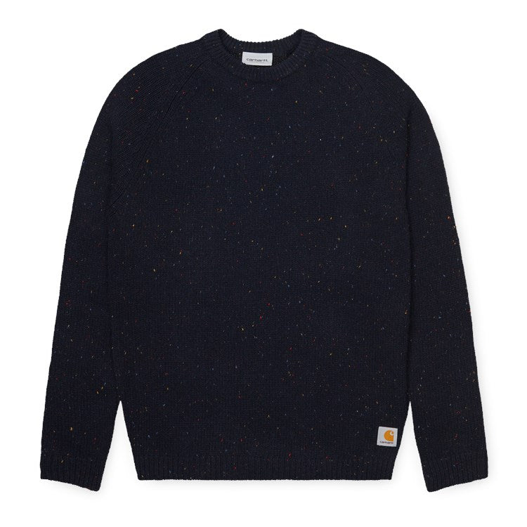 Carhartt WIP Anglistic Sweater - Dark Navy Heather