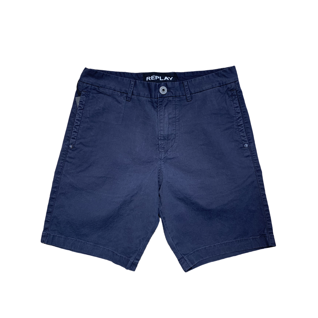 Replay Garment Dyed Twill Shorts - Navy