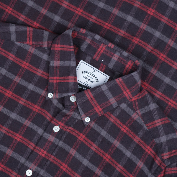 Portuguese Flannel Evening Checked Shirt - Grey / Black / Red