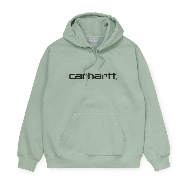 Carhartt WIP Hooded Embroidered Carhartt Script Sweatshirt - Frosted Green