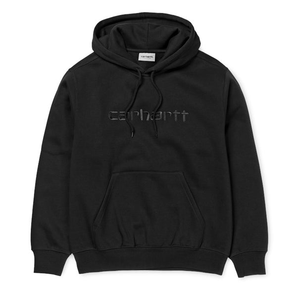 Carhartt WIP Hooded Embroidered Carhartt Script Sweatshirt - Black / Black
