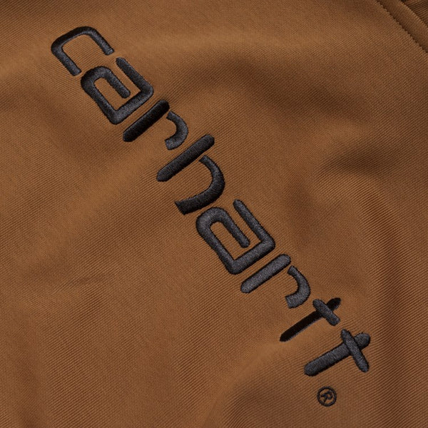 Carhartt WIP Hooded Embroidered Carhartt Script Sweatshirt - Hamilton Brown
