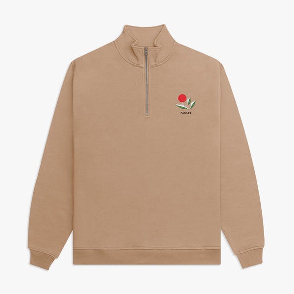 Parlez Kojo 1/4 Zip Sweat - Sand