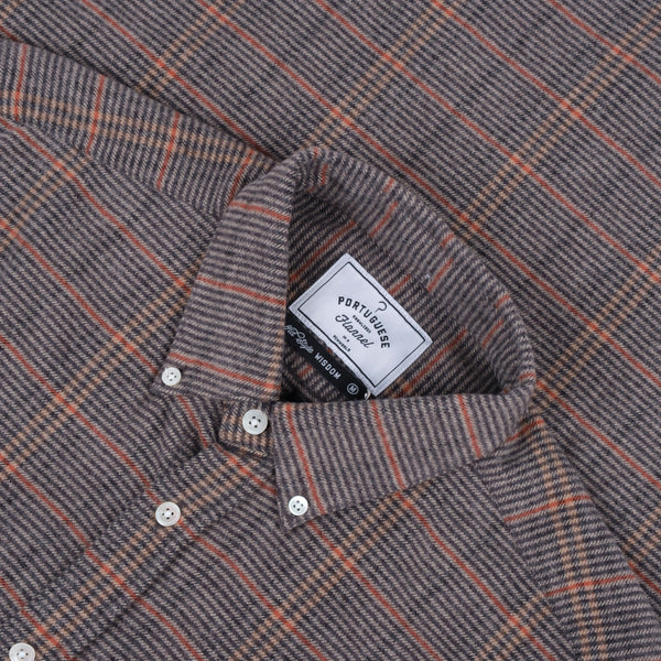Portuguese Flannel Library Check Shirt - Grey / Blue Check