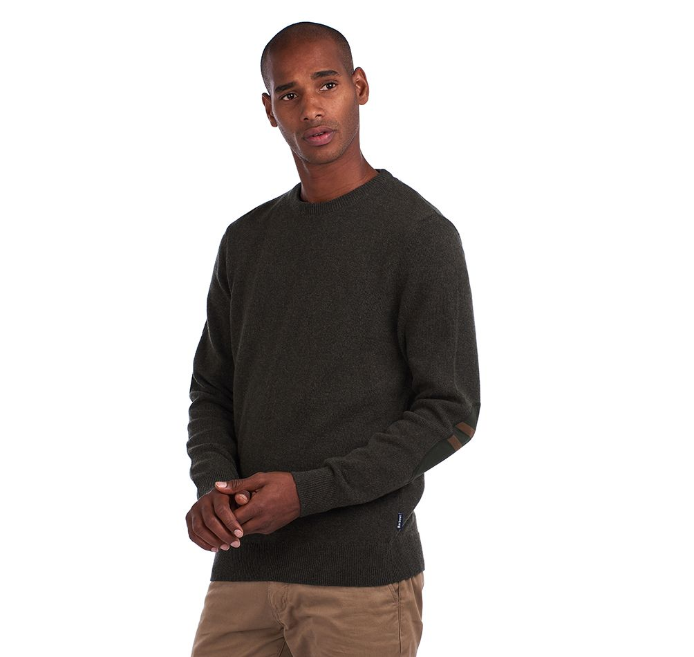 Barbour Harold Elbow Patch Crew Knit - Olive