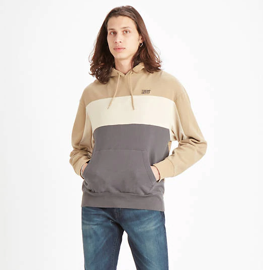 Levi's Wavy Colour Block Hooded Sweatshirt - Sand/Grey