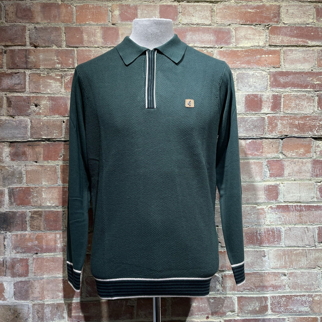 Gabicci Vintage Tread Knitted Polo Shirt - Green