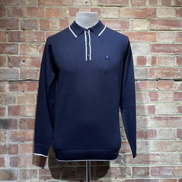 Gabicci Vintage Lineker Knitted Polo - Navy
