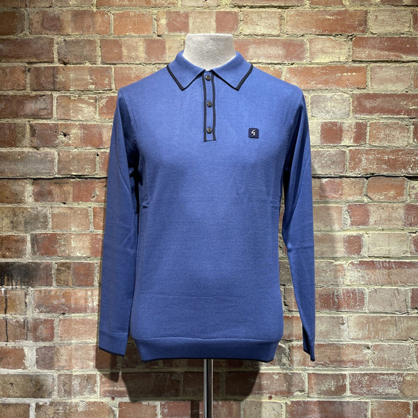 Gabicci Vintage Lineker Knitted Polo - Riviera Blue
