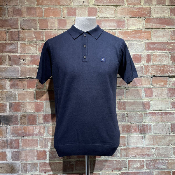 Gabicci Vintage Jackson Knitted Polo - Navy