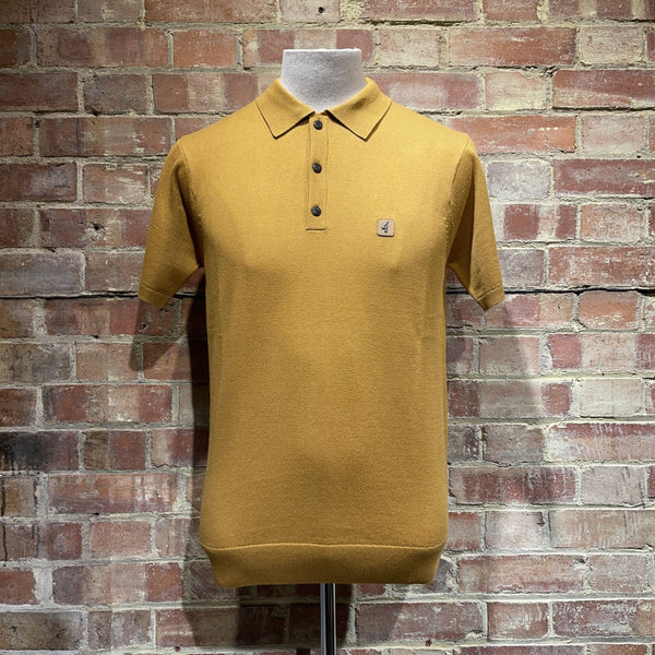 Gabicci Vintage Jackson Knitted Polo - Harvest Gold