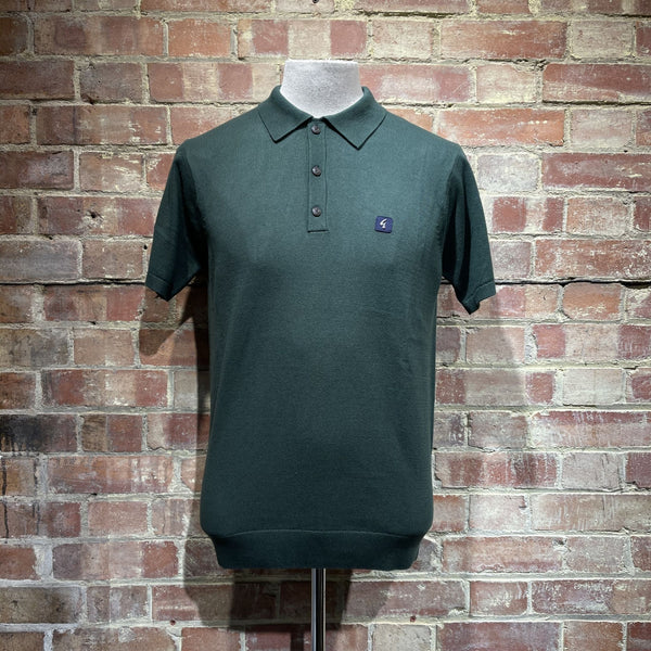 Gabicci Vintage Jackson Knitted Polo - Pine