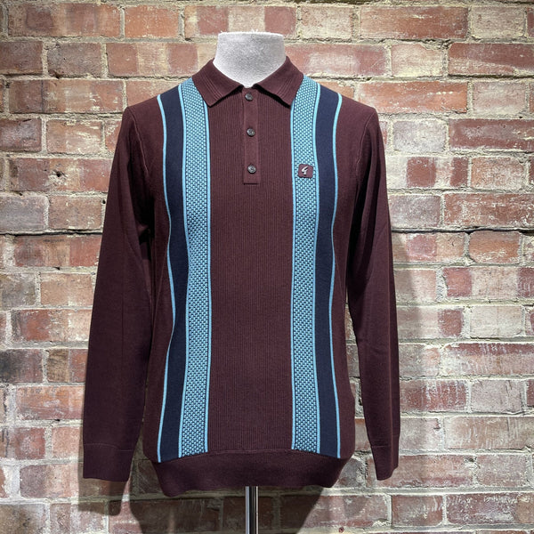 Gabicci Vintage Croxted Knitted Polo - Oxblood
