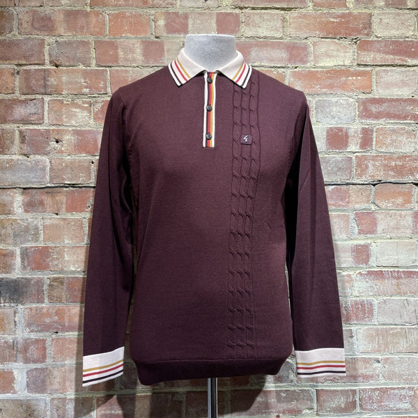 Gabicci Vintage Turney Knitted Polo - Port