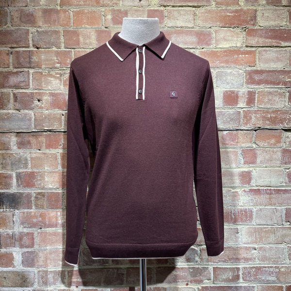 Gabicci Vintage Lineker Knitted Polo - Oxblood