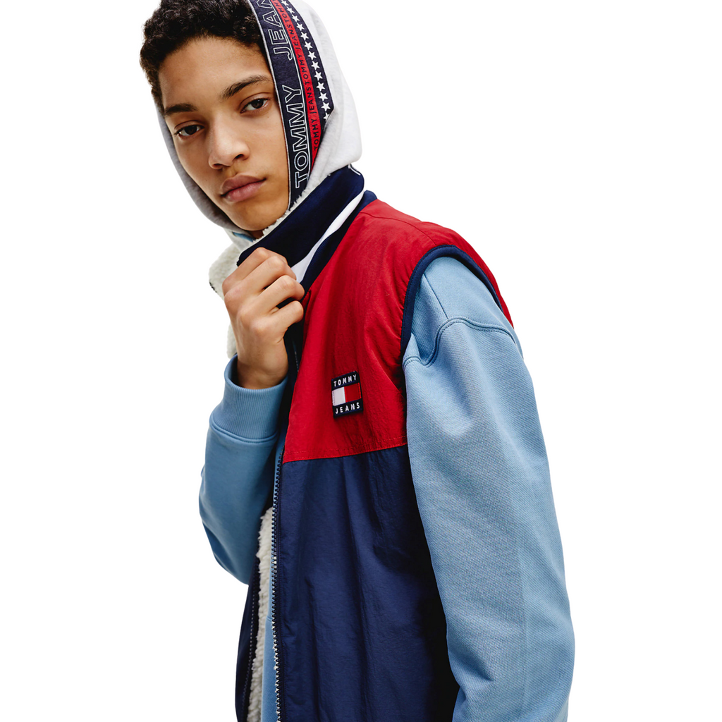 Tommy Jeans Reversible Fleece Gilet - Ecru / Navy / Red