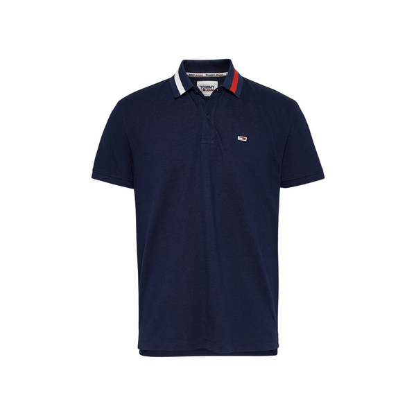 Tommy Jeans Flag Collar Polo Shirt - Navy