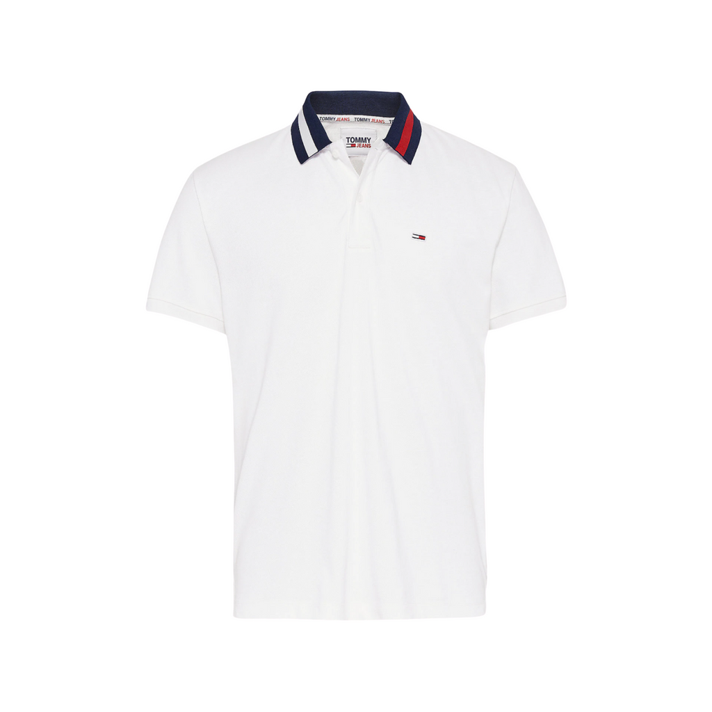 Tommy Jeans Flag Collar Polo Shirt - White