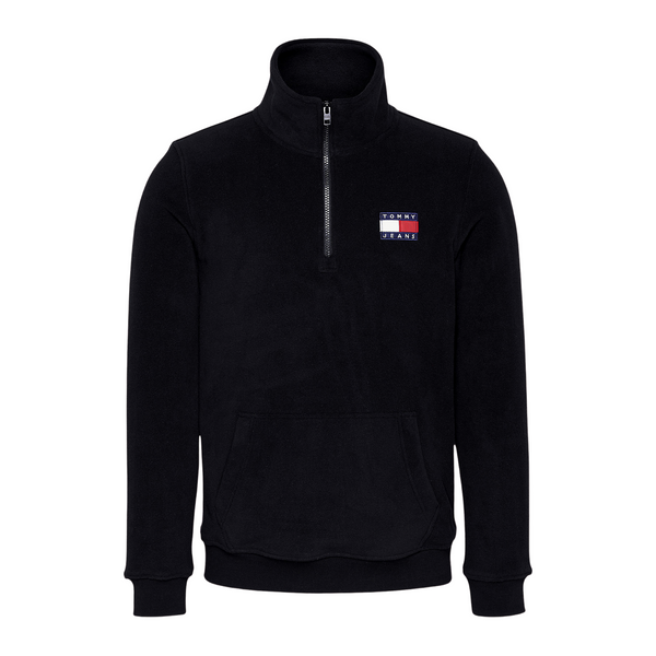 Tommy Jeans Half Zip Polar Fleece Sweatshirt - Black