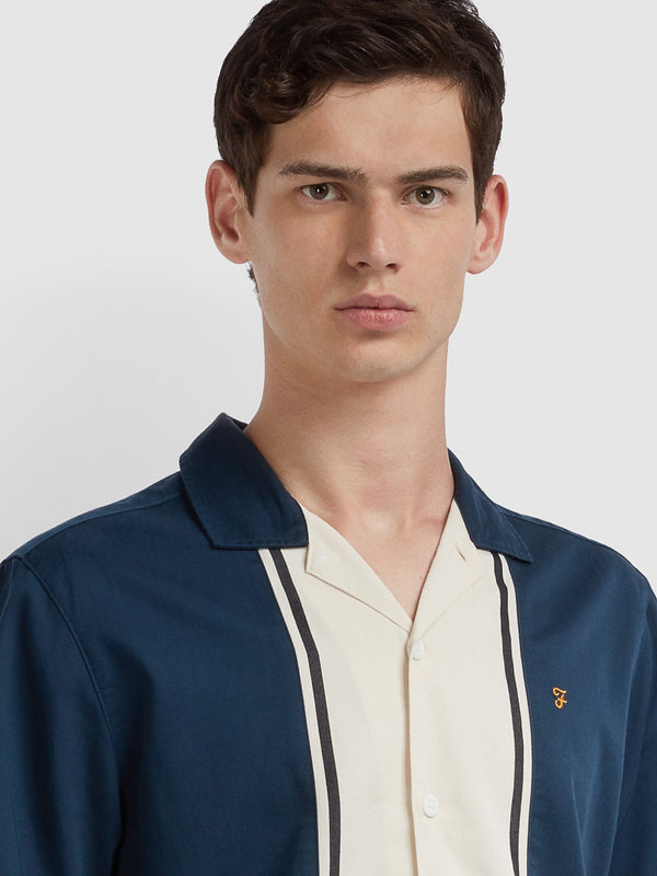 Farah Houston Short Sleeve Shirt - Navy/Off White