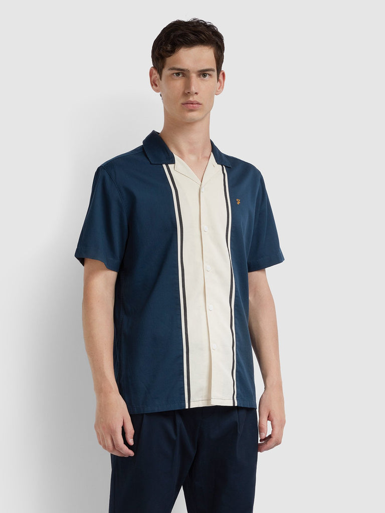 Farah Odessa Houston Short Sleeve Shirt - Navy/Off White