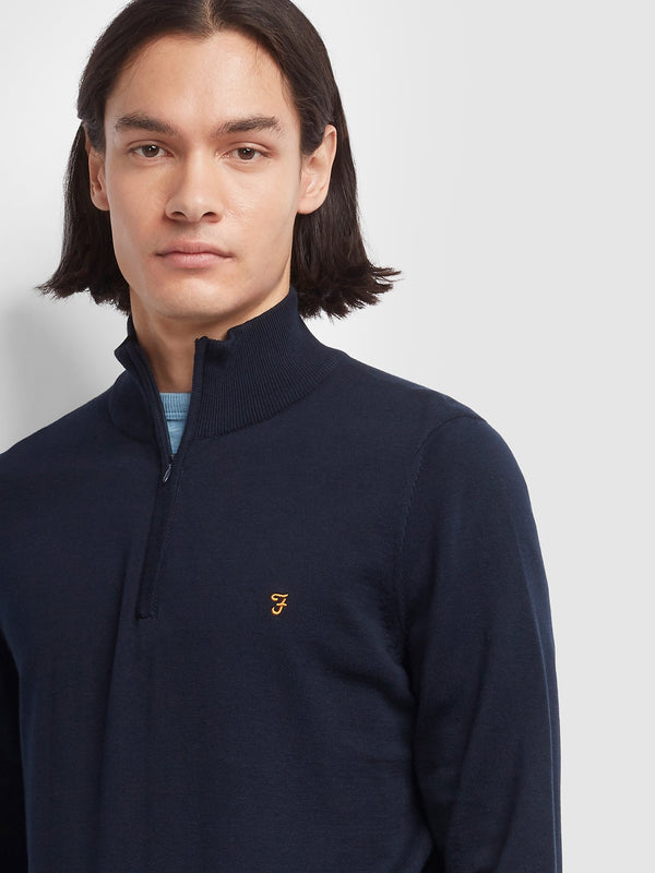 Farah Redchurch 1/4 Zip Merino Jumper - Navy