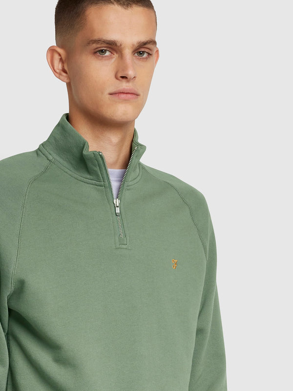 Farah Jim 1/4 Zip Sweatshirt - Fern Green