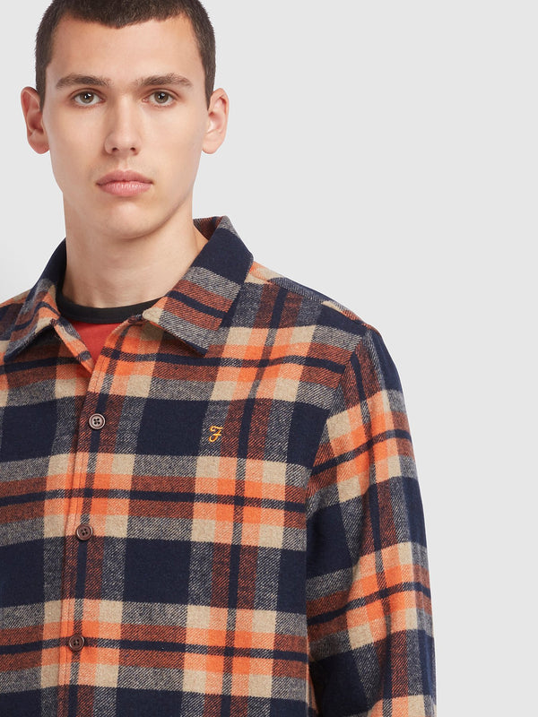 Farah Drummond Check Overshirt - Farah Orange / Navy