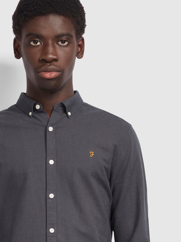 Farah Brewer Slim Fit Oxford Shirt - Farah Grey