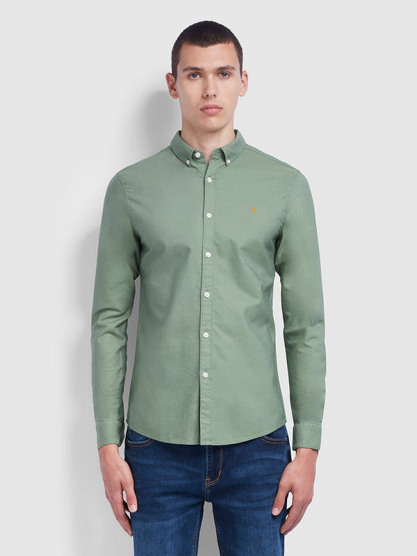 Farah Brewer Slim Fit Oxford Shirt - Jade Green