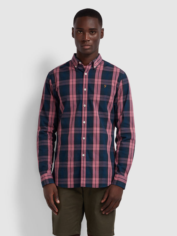 Farah Tartan Brewer Long Sleeve Shirt - Dusty Rose/Navy