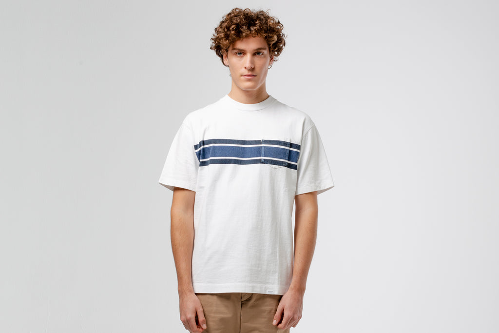 Edmmond Studios Adult Stripe T-Shirt - White/Navy