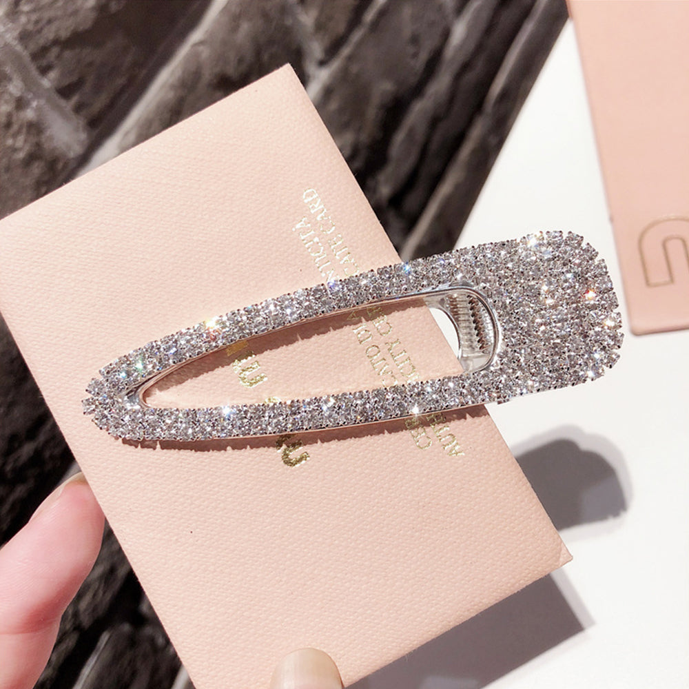 A Pair of Crystal Broad Metallic Touch Hair Pin