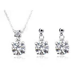 Solitary Crystal Elegant Pendant Set With Chain