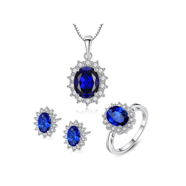 Blue Gemstone Necklace Set with Ring
