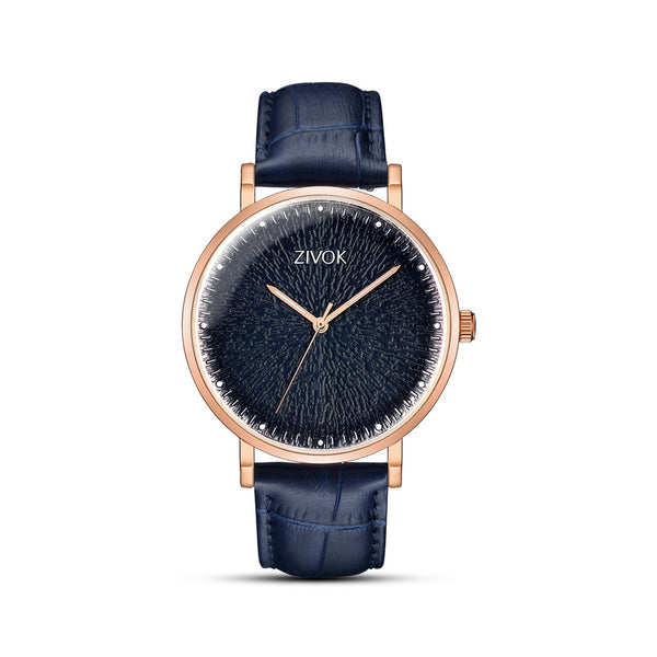 Round Stylish Leather Strap Watch