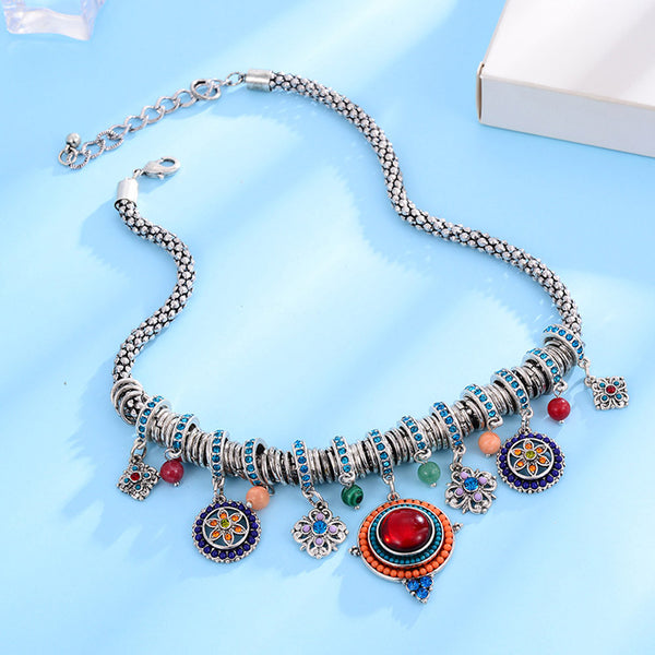 Ethnic Big Wildflower Choker Necklace