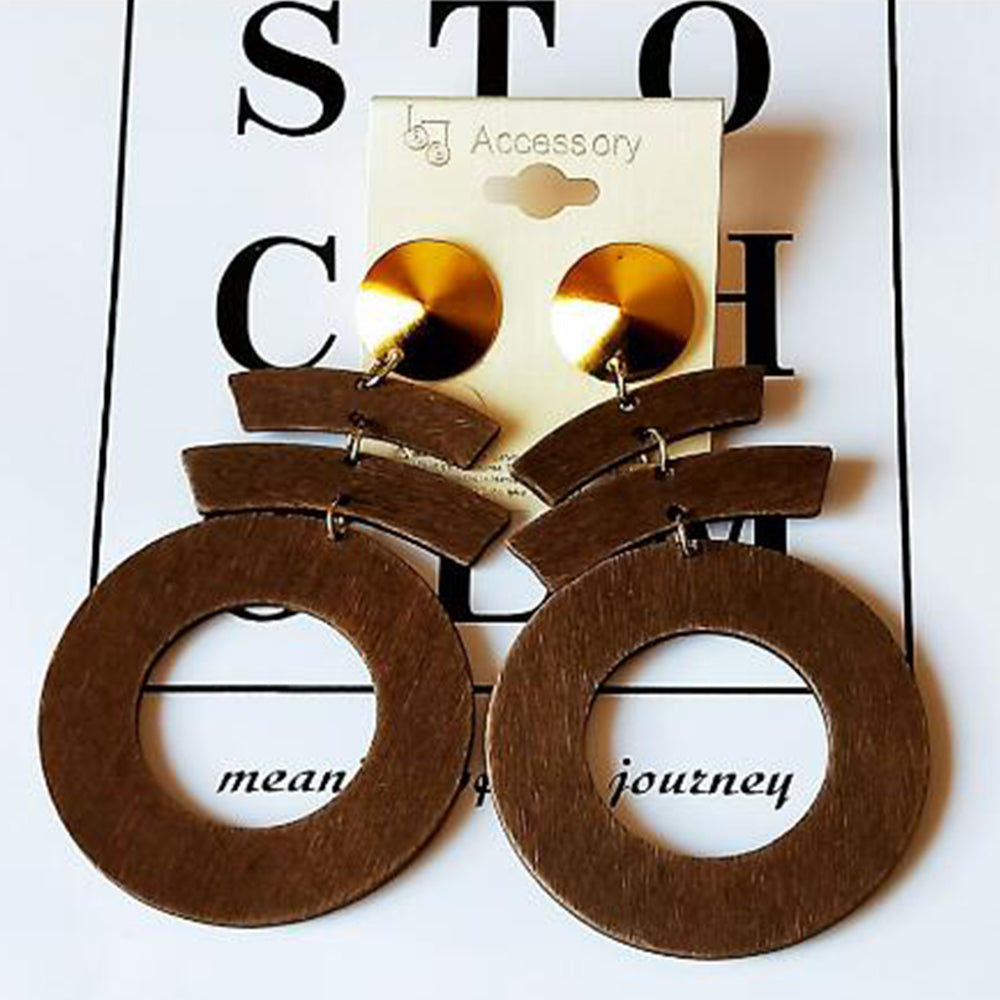 Wooden Mosiac Round Geometric Earrings