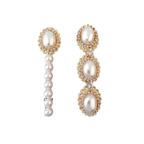 Pair of Pearl and Crystal Contrasting Hairpin