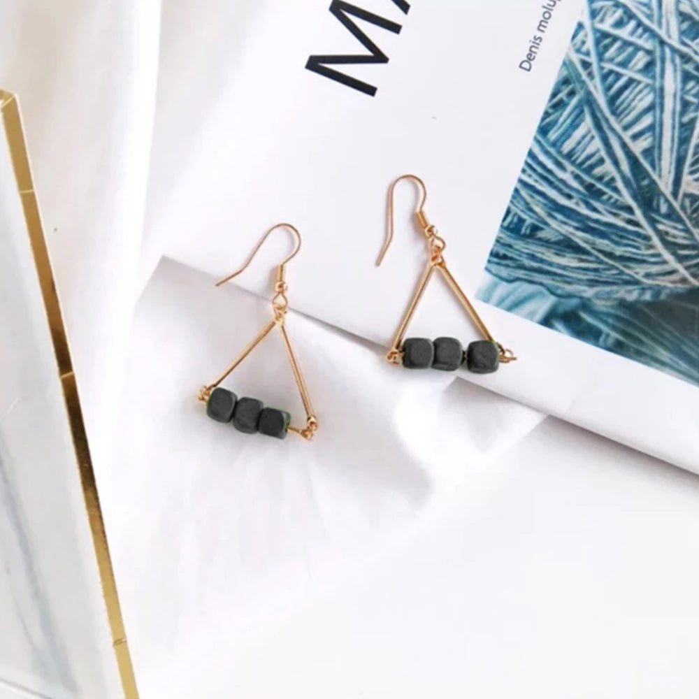Geo-Triangle Beaded Hook Earrings