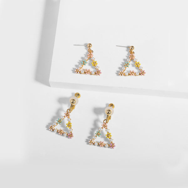 Triangular Stylish Crystal and Pearl Earrings