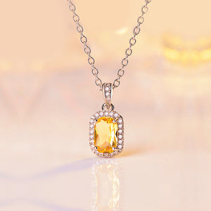 Yellow Gemstone Rectangular Pendant with Chain