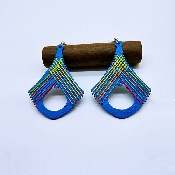 Vibrant Geometric Multi-color Long Earrings