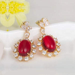 Sparkling Red Rhinestone Danglers