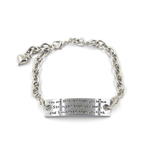 Brave Message-Embossed Alloy Bracelet