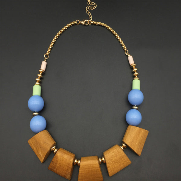Vintage Wood and Bead Statement Necklace