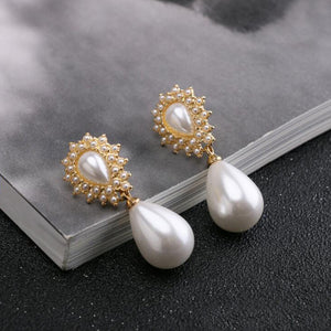Pearl Drop Glossy Metallic Earrings