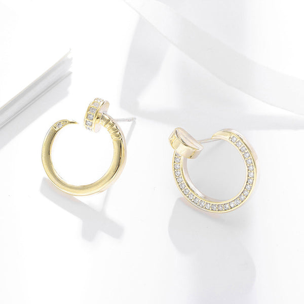 Round Crystal and Alloy Contracting Earrings