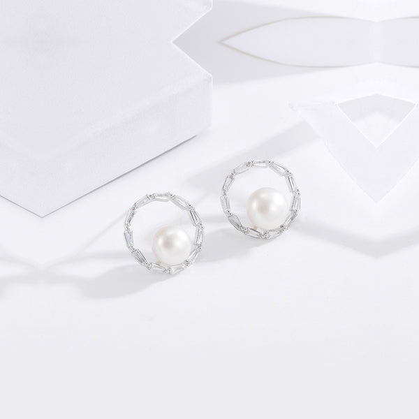 Imitation Pearl Round Ear Studs
